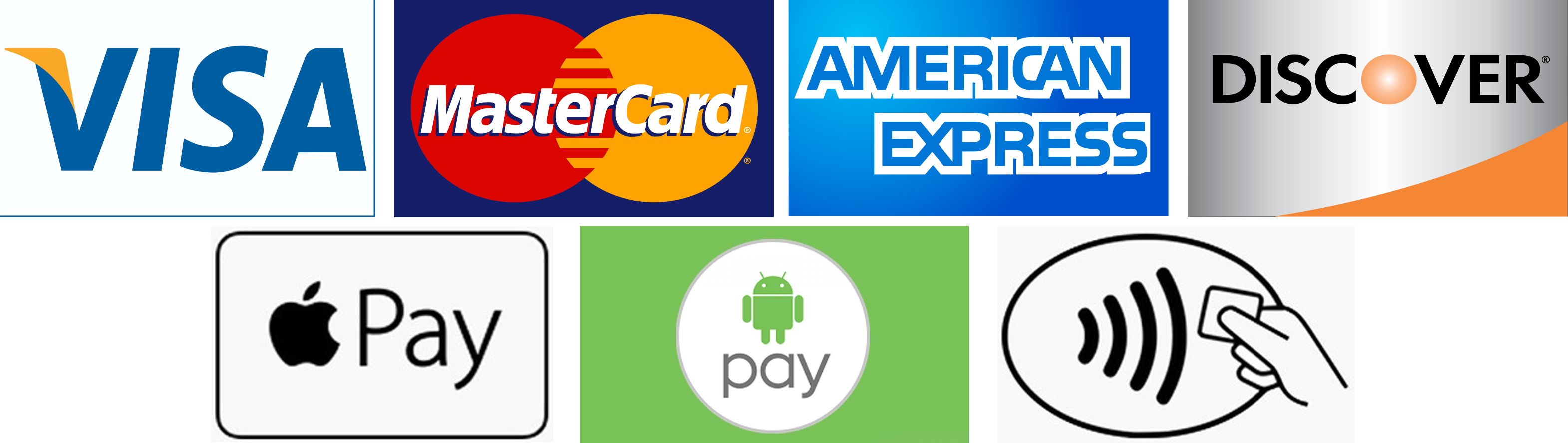 Visa, MasterCard, Amex, Discover, Apple Pay, Android Pay